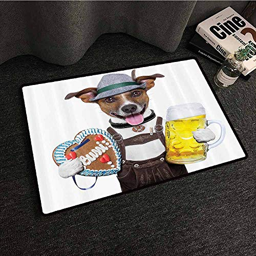 - Festival Decorations Collection Welcome Door mat Oktoberfest Dog with Beer Mug and Gingerbread Heart Non-Slip Backing W16 xL24 Smiling Happy Times Art