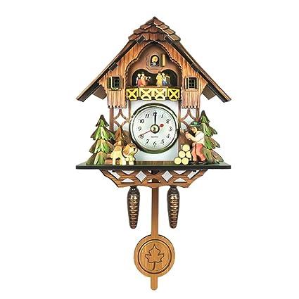 Homyl Multicolor Madera Reloj de Pared de Forma de Cuco de Sin Sonido de Cuco -