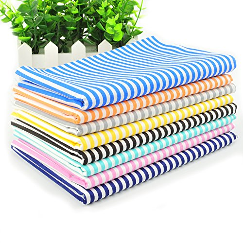 Fat Quarter Fabric Bundles Pre-Cut Quilting Cotton Twill Striped Printed Assortments,Good Quality Craft Cloth Bundle Squares,DIY for Sewing Crafting Rose Flavor(Stripe 8pcs,18 by 20.5Inch) ()