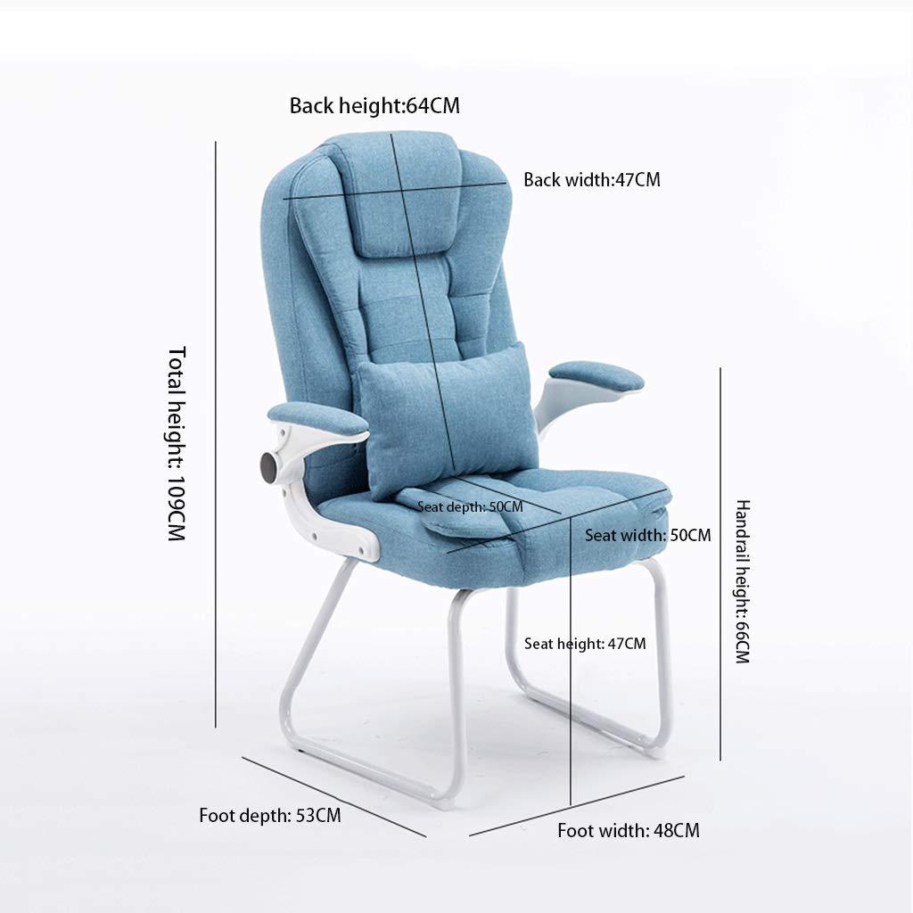 Zhou-WD PU konferensstol, bekväm lätt att rengöra hem stol tjockare hållbar dator skrivbord och stol vikbar fåtölj kontorsmöbler (färg: Brun) Mörkbrunt