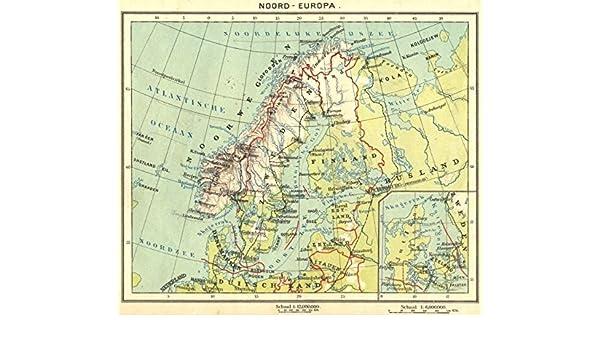 Map Of Europe 1922.Amazon Com Europe Noord Europa Inset Map Of Gotenburg 1922