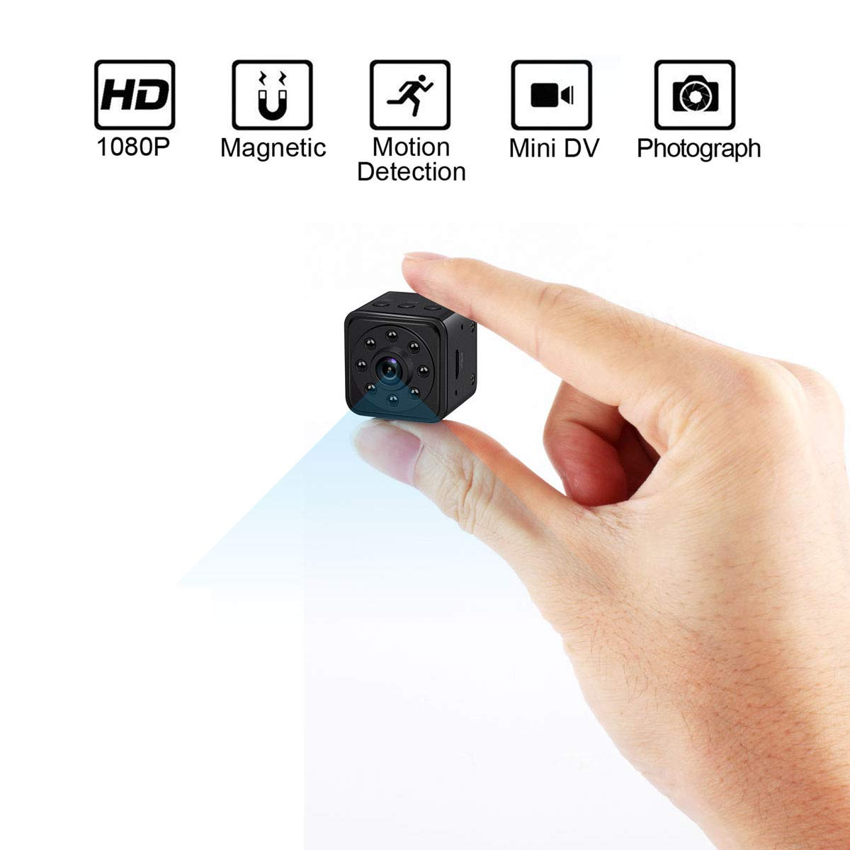Mini Hidden Spy Camera 1080P HD 140 Degree Wide Angle Small Nanny Cam with Night Vision and Motion Detective for Home Security Camera