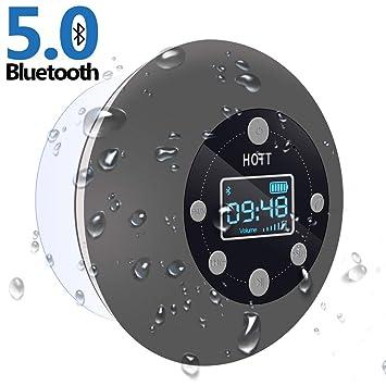 Radio de Ducha con Altavoz Bluetooth 5.0, Resistente al Agua y con Ventosa, micrófono FM, Manos Libres, 10 Horas, Pantalla LCD, Tarjeta SD para ...