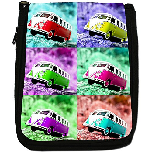 Black Size Scene Camper Shoulder Pop Art Canvas Medium Van Bag twawUv
