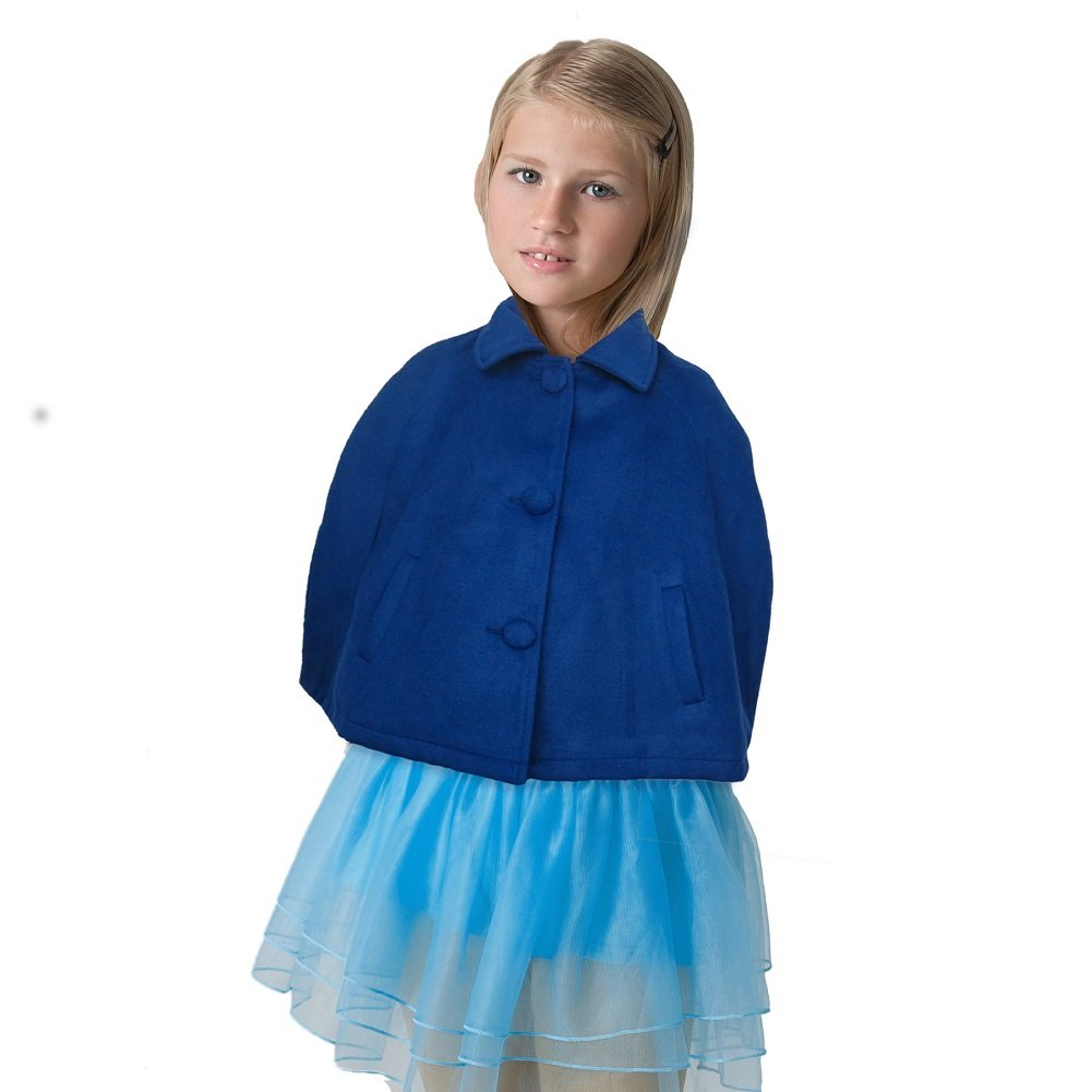 Bentevi Girls Wool Blend Capes Poncho, Spring Fall Fashionable Outerwear For Cooler Spring Days (Blue, 80/2)