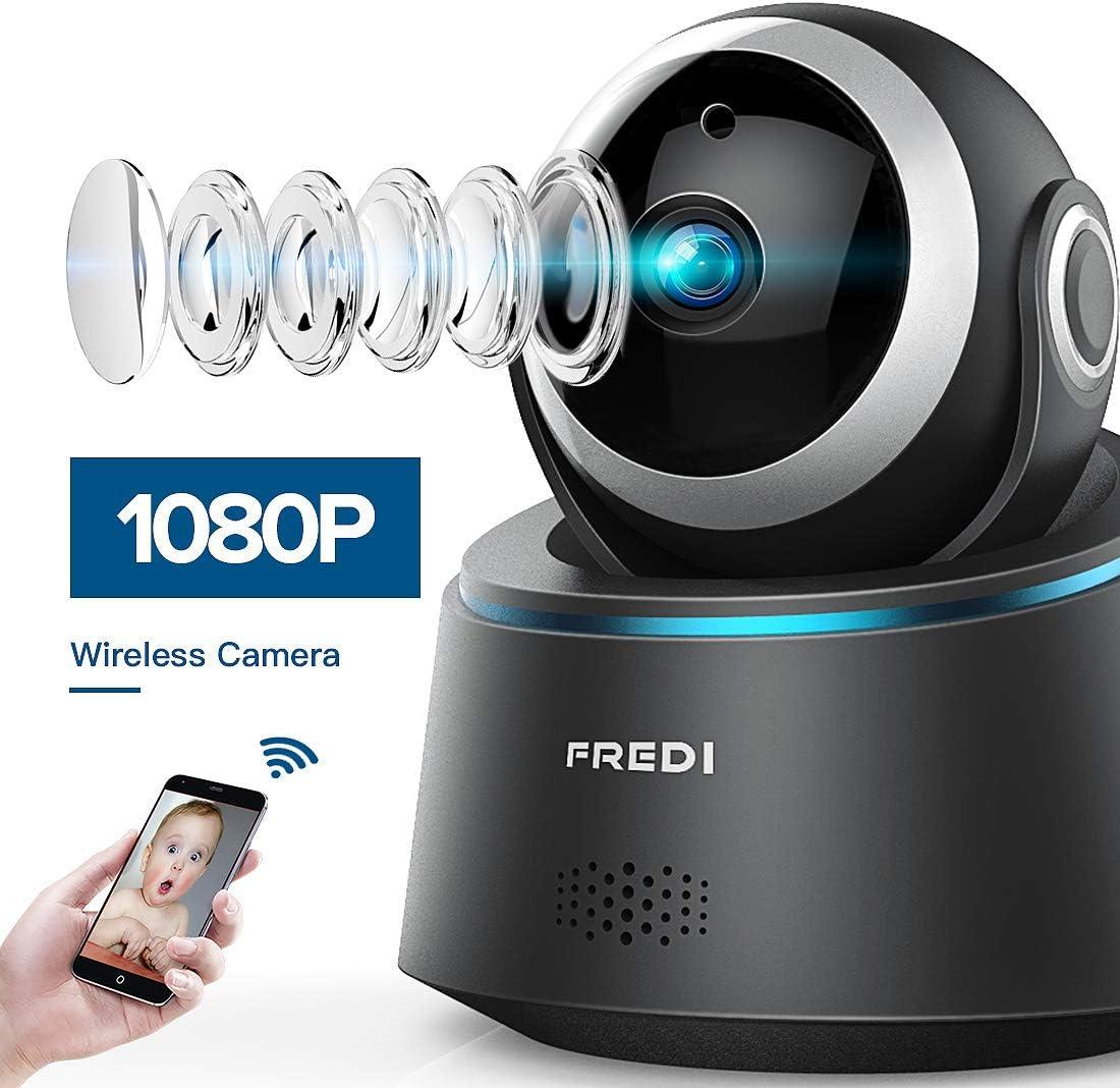 Cam/éra S/écurit/é WiFi 1080P FREDI IP Cam/éra de Surveillance sans Fil D/étecteur de Mouvement Infrarouge /à Vision Nocturne Pan Tilt P2P WPS IR-Cut Audio Bidirectionnel pour Domestique Bureru