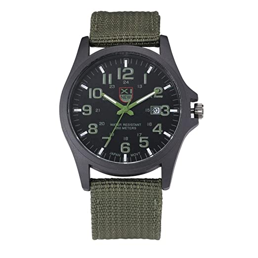 Watch,LANDFOX Mens Stainless Steel Military Sports Analog Quartz Watch Green