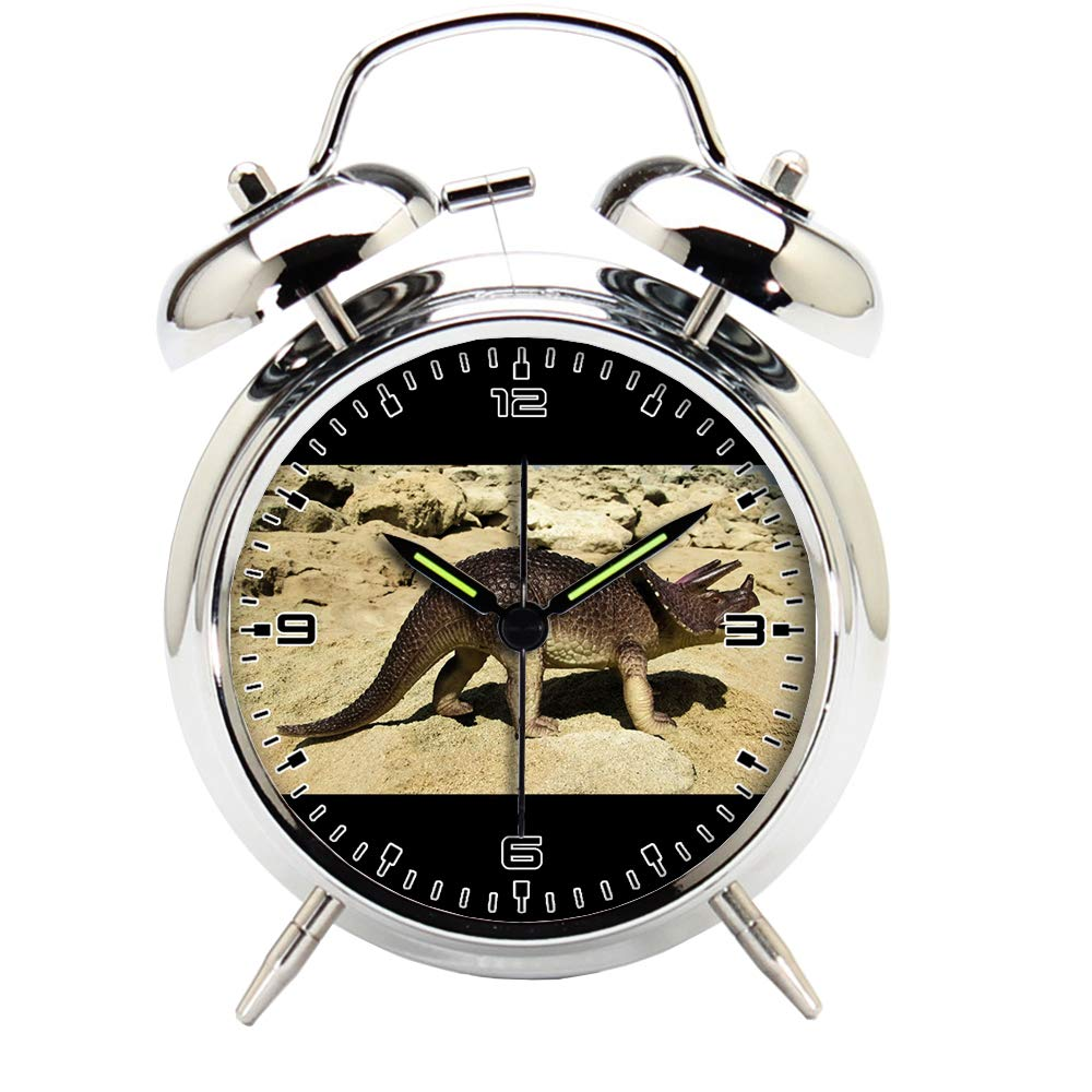 Children's Room Silver Dinosaur Silent Alarm Clock Twin Bell Mute Alarm Clock Quartz Analog Retro Bedside and Desk Clock with Nightlight-798.97_Plastic Animal Reptile Toy Dinosaur
