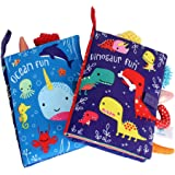 ORAPOH Dinosaur and Ocean Tail Baby Early Education Toy, Activity Crinkle Cloth Book for Toddler, Infants and Kids Perfect fo