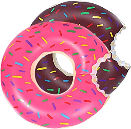 BigMouth Giant Strawberry Frosted Donut w// Sprinkles Pool Float 4 Foot Swim Lake