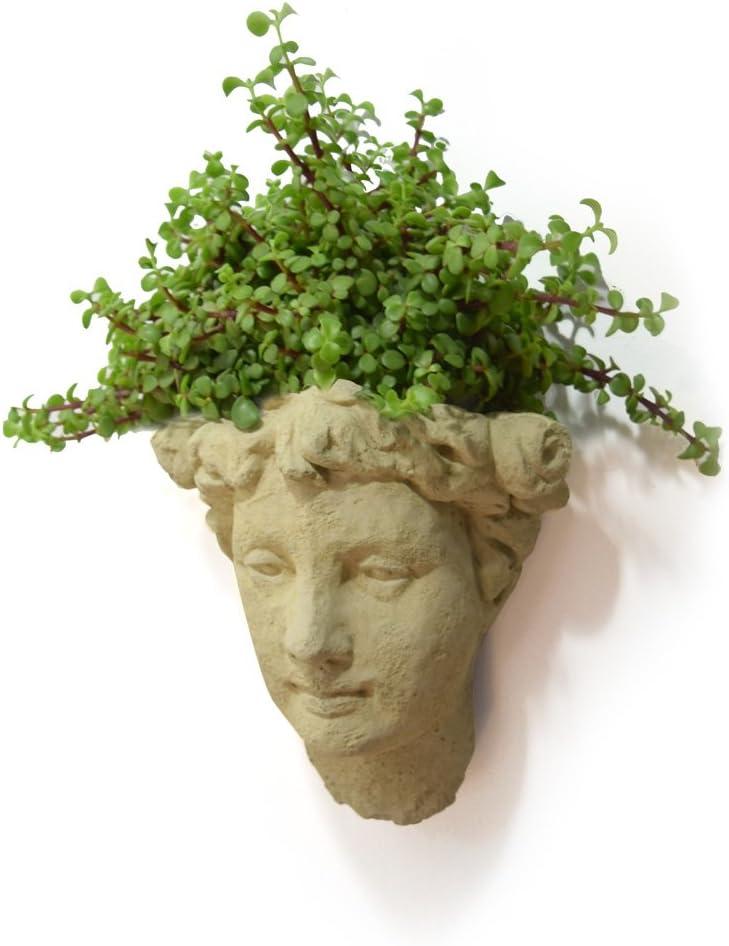 Designer Stone Lady s Head Cast-Stone Wall Planter, Antique Stone Color