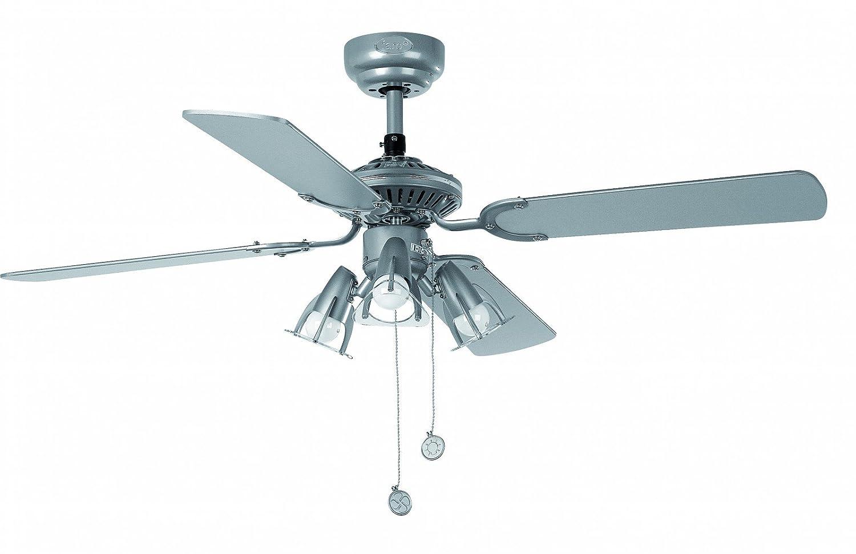 Faro Barcelona Jaca 33175–Ventilator mit Licht, 40W, Metall, Flügel aus Holz und Diffuser aus PC-Kunststoff, grau [Energieklasse A++] 40W