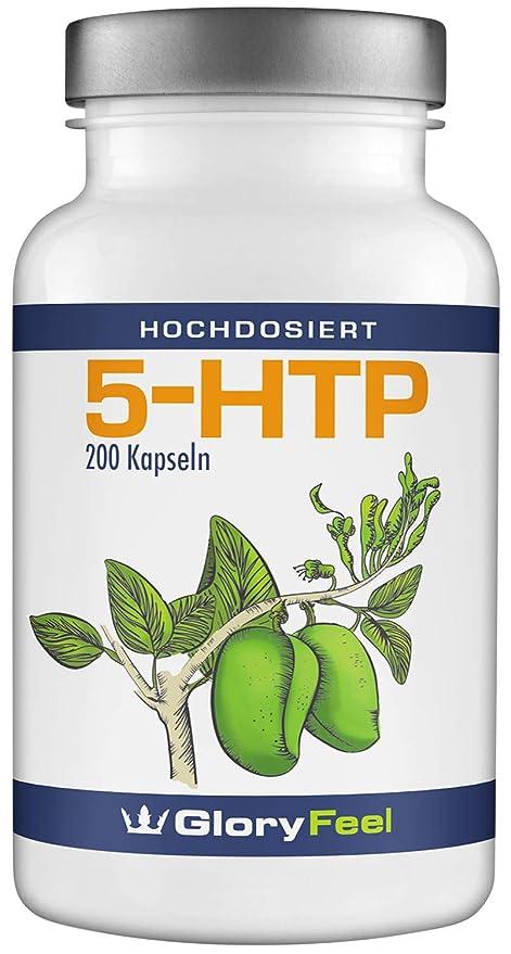 5-HTP 200 Cápsulas de Alta Dosis - Extracto de 200mg de las Semillas Originales