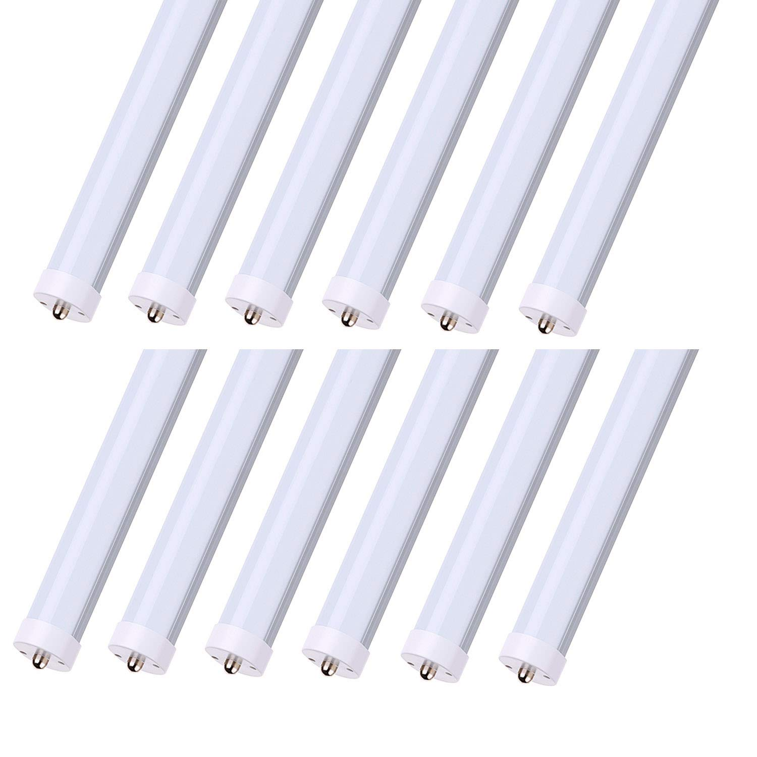 CNSUNWAY Lighting 8FT LED Bulb, 45W(100W Equivalent), Dual-Ended Power, Bypass Ballast, 4800 Lumens, 6000K Cool White, Frosted Cover, 8ft LED Bulbs for Fluorescent Fixtures(12-Pack)