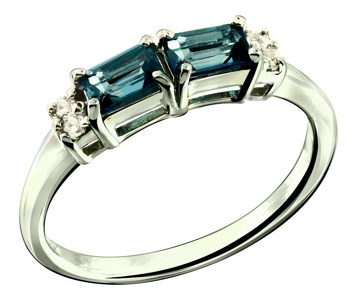 RB Gems Sterling Silver 925 Ring GENUINE GEMS (LONDON BLUE TOPAZ, GARNET) 0.92 Ct Rhodium-Plated Finish (6, london-blue-topaz)