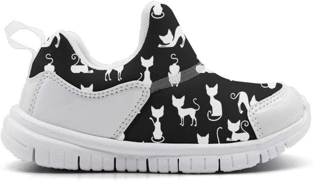 ONEYUAN Children Cute White Cats Black Background Kid Casual Lightweight Sport Shoes Sneakers Running Shoes