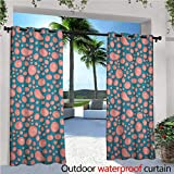 familytaste Pale Pink Exterior/Outside Curtains Drops and Round Splash of Bubble Gum on Blue Background in Cartoon Style for Patio Light Block Heat Out Water Proof Drape W120 x L108 Petrol Blue Coral