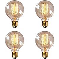 Juneslife foco Edison E27, estilo clásico, G80, G95, G125, 40 W, incandescente, decorativa, paquete de 4 (estilo línea recta)