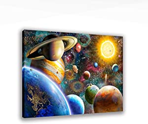 Universe Planet Art Wall Decor Solar System Wall Pictures for Bedroom Living Room Bathroom Decoration, Wooden Framed Stretched Print on Canvas Poster Ready to Hang 12