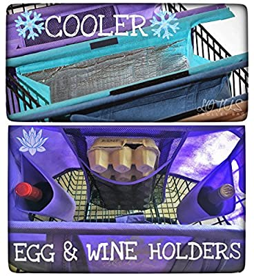 Lotus Trolley Bags 2.0 -w/ LRG COOLER Bag & Egg/Wine holder! 4 Detachable, Foldable, Reusable Grocery Bags sized for USA. WITH REMOVABLE POLES. Eco-friendly Shopping Cart Tote.