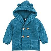 Chaqueta de Punto para bebé Abrigos con Capucha Niños Niñas de Punto Suéter cálido Outwear