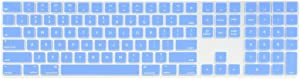 TOP CASE - Ultra Thin Silicone Soft Keyboard Cover Skin Compatible with Apple Magic Keyboard with Numeric Keypad Model: MQ052LL/A A1843 (US Layout, 2017 Released) - Serenity Blue
