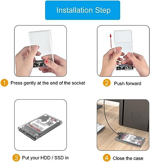 ELUTENG Disco Duro Caja USB 3.0 2.5 Inch HDD/SSD Case Transparente ...