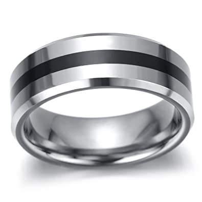476b6d80d0 Adisaer Ringe Silber Boho Ring Männer Rock Punk Schwarz Silber Linie Muster  Hohe Poliert Ring Größe