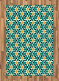 Arabian Area Rug by Lunarable, Arabic Oriental Geometric Shapes Lines with Pastel Middle East Art Persian, Flat Woven Accent Rug for Living Room Bedroom Dining Room, 4 x 6 FT, Teal Yellow Brown