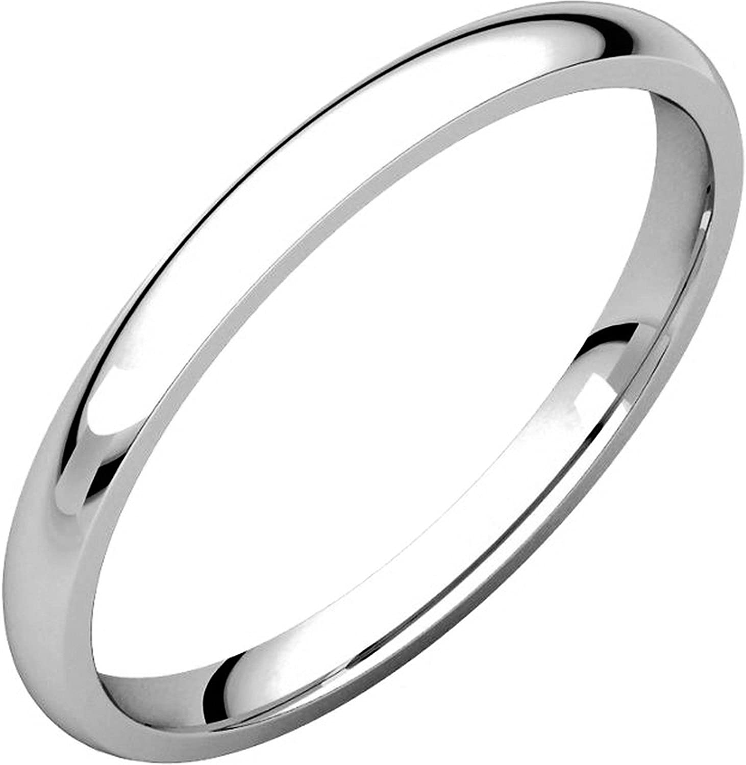 Plain Wedding Band Mens and Womens 14k White Gold Comfort Fit 2mm Wide