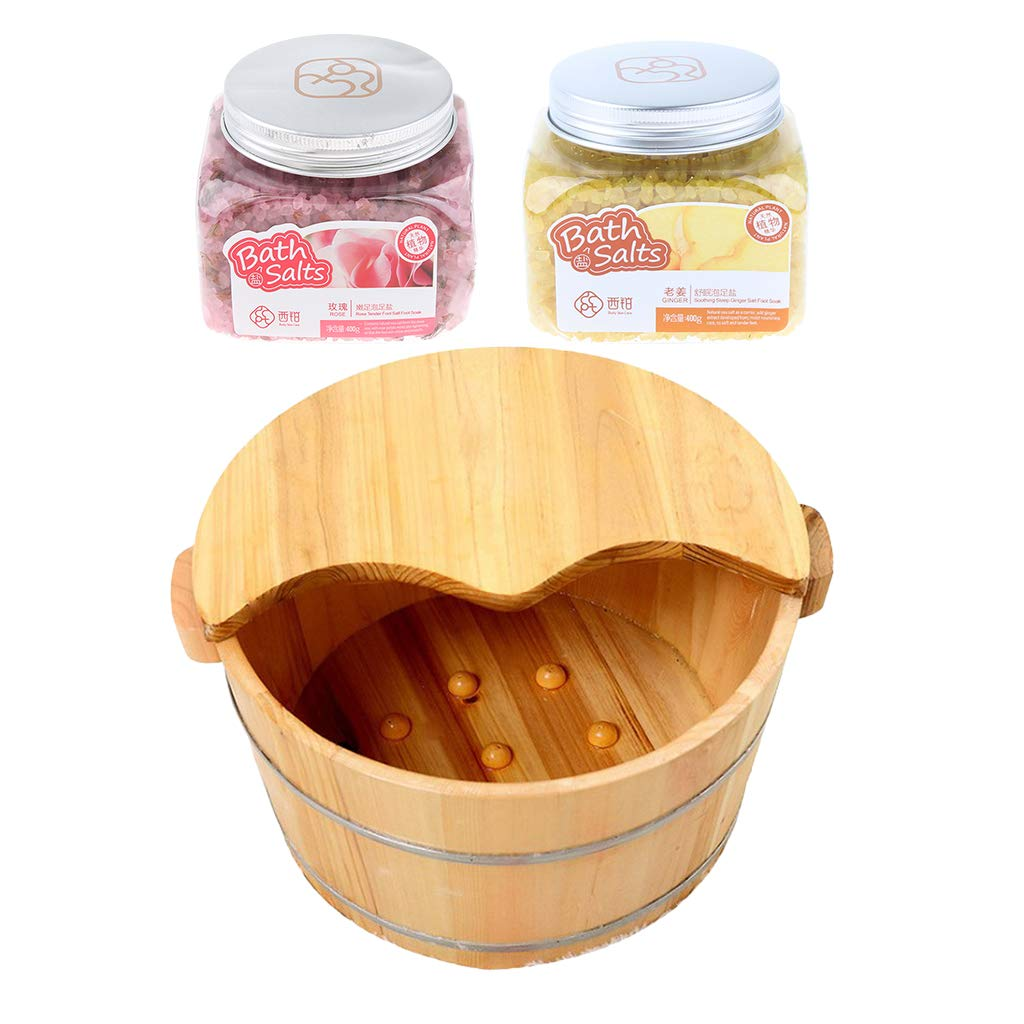 Fityle 1 Piece Natural Wood Foot Basin with Cover & Ginger and Rose Bath Soak Salt for Foot Bath