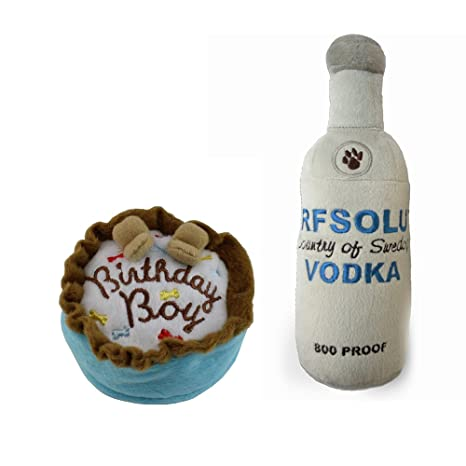 Haute Diggity Dog Birthday Cake And Arfsolut 800 Proof Vodka Plush Toy