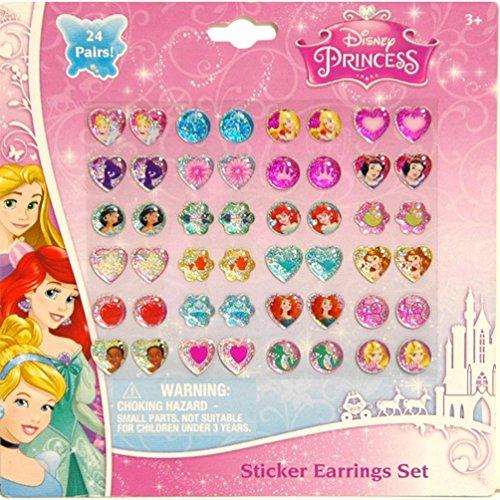 Disney Princess Kids 24-pair Sticker Earrings (Pack of - Princess Disney Earrings