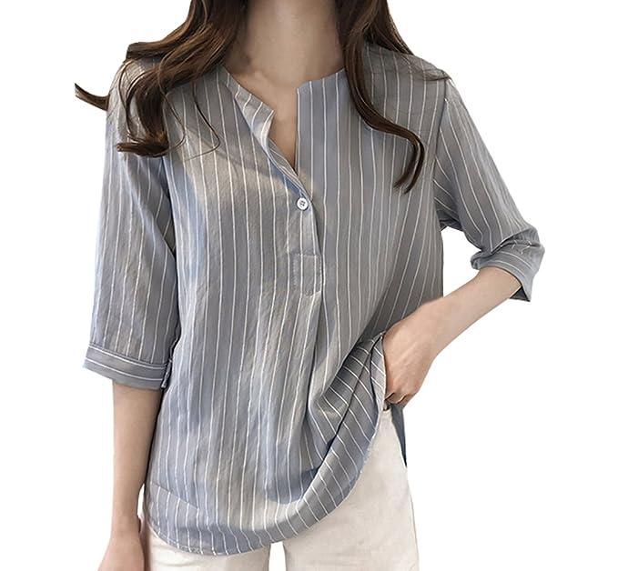 Primavera y Otoño Camisas Mujeres Moda Manga 3/4 Blusa Camisetas T-Shirts Casual