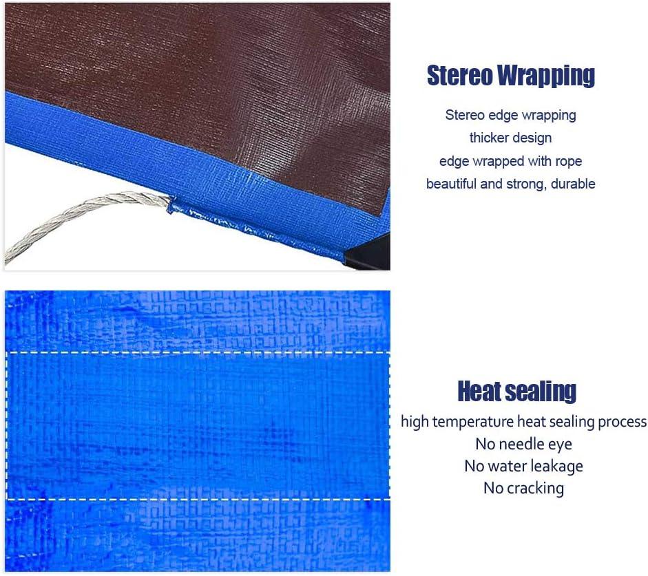 Jard/ín Piscina Multifuncional Resistente al agua Lona Coche WZLJW-color Azul Caf/é 10x10m Impermeable Cubiertas de Hoja de Tierra Resistente a Desgarros Cubierta de Lona para Muebles