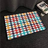 Kitchen Room Floor Mat Rug Colorful Checkered,Fresh Summer Gingham,W31 xL47 Outdoor Camping Rugs