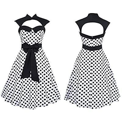 Budding Joy Women's Halter Polka Dots 1950s Vintage Swing Tea Dress