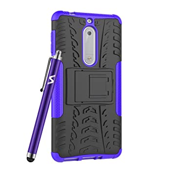 cheap for discount 390b6 dc117 For Nokia 5 Phone Case Hybrid Rugged Armor Shockproof Kickstand Protective  Back Cover For Nokia 5 (Purple)