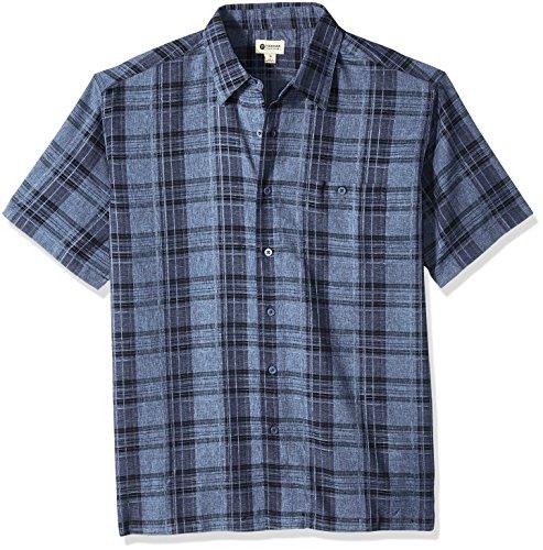 Haggar Men's Short Sleeve Microfiber Woven Shirt, Navy Marl, S