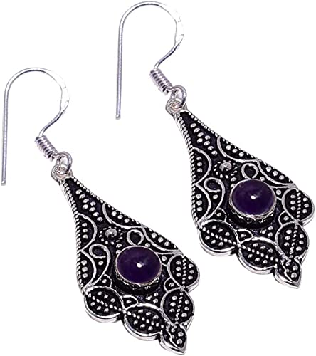 SilverArt 925 Sterling Silver Plated Handmade Amethyst Earring for Womens and Girls