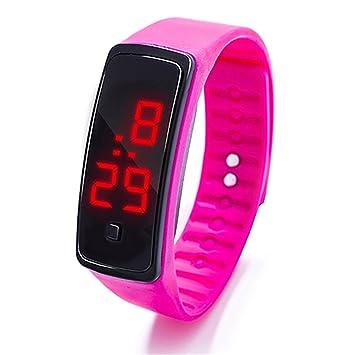 68c9937de61ba3 Orologio sportivo a bracciale, in silicone, Unisex, display digitale a LED,  anche per bambini, Hot Pink, 23 cm: Amazon.it: Sport e tempo libero