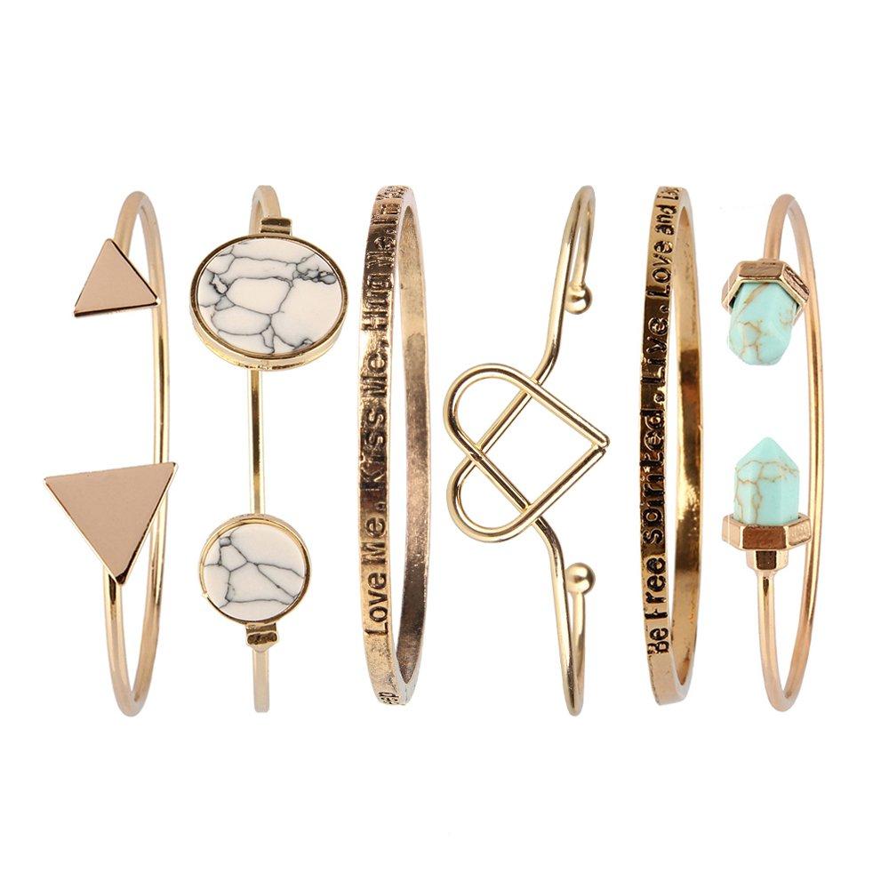Bewish Women Ladies Set of 6 Fashion Arrow Natural Gemstone Gold Stackable Open Cuff Bangle Bracelet
