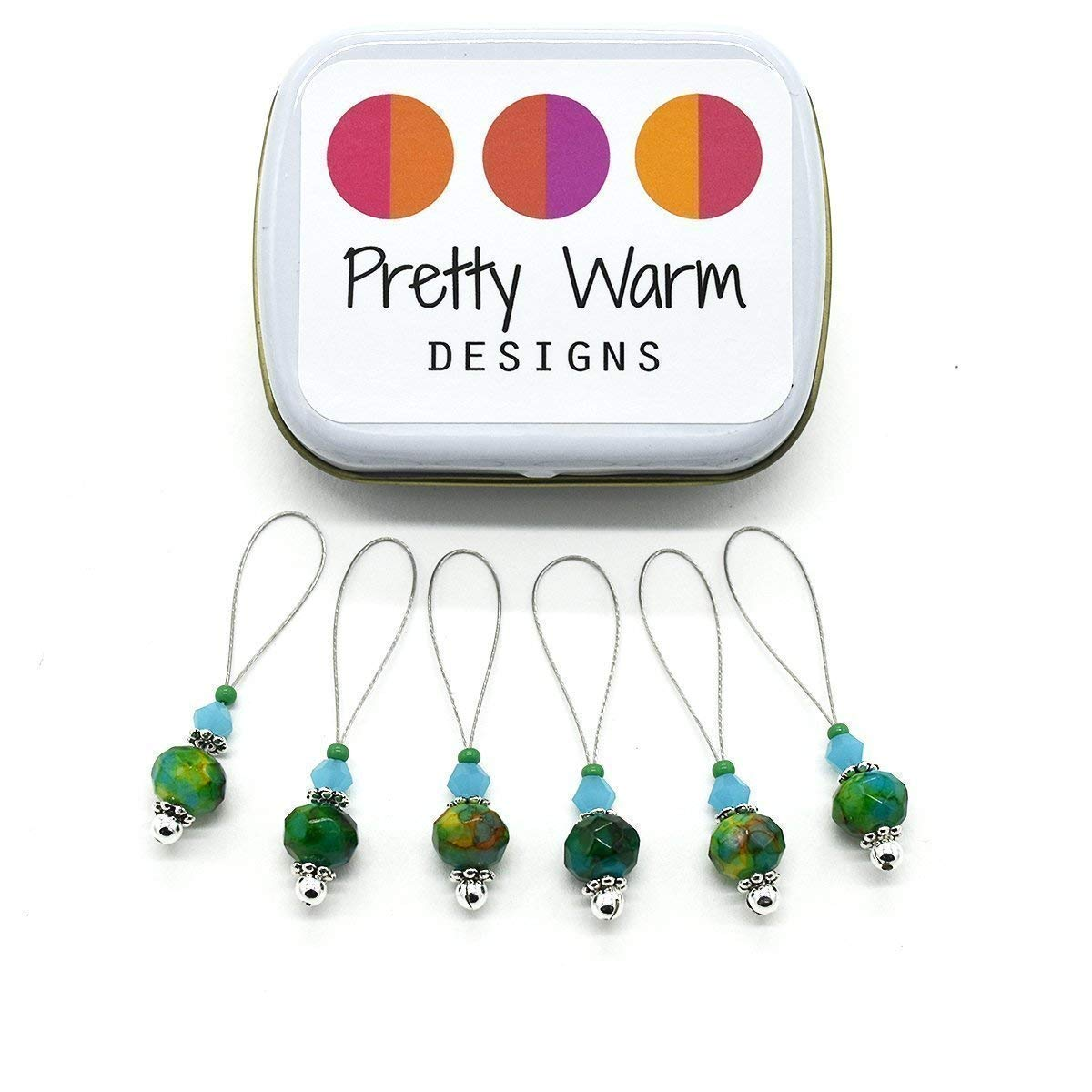 Faceted Green and Blue Stitch Markers for Knitting