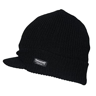 27edd05e Mens Winter Warm Ribbed Thermal Fleece Lined Outdoor Ski Peak Beanie Hat  Black: Amazon.co.uk: Clothing