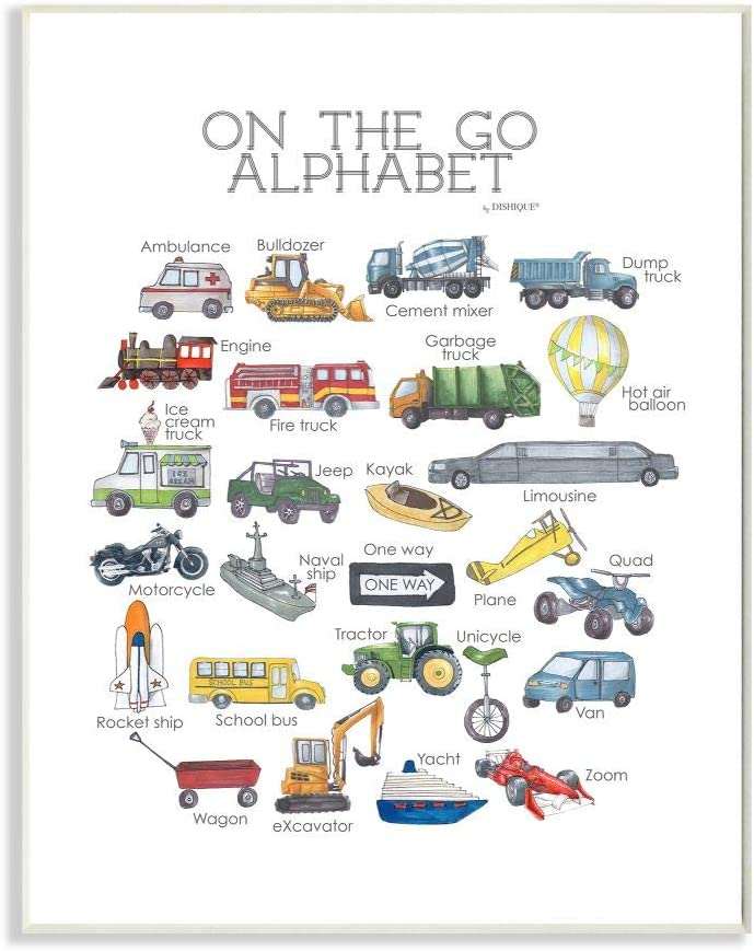 Stupell Industries Watercolor On The Go Transportation Alphabet with Firetruck Airplane and School Bus Wall Plaque, 10 x 15, Design by Artist Dishique