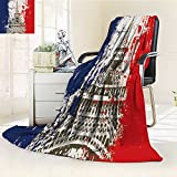 SOCOMIMI DOLLAR Blanket,French Flag with Eiffel Tower Illustration Traveling, Hiking, Camping, Full Queen, TV, Cabin, Couch, Bed Throw(90''x 70'')