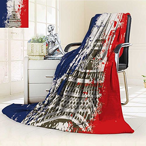 SOCOMIMI DOLLAR Blanket,French Flag with Eiffel Tower Illustration Traveling, Hiking, Camping, Full Queen, TV, Cabin, Couch, Bed Throw(90''x 70'') by SOCOMIMI