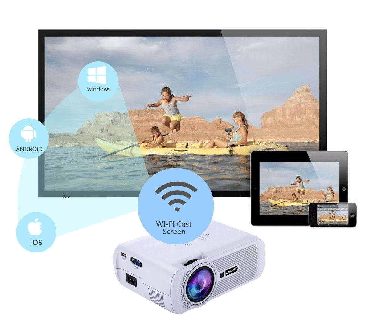 UHAPPY WIFI HD Mini Proyector Andrews 6.0 Bluetooth 1080P 20.000 ...
