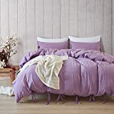 MaiYu-MY 2/3pcs bedding set -Bowknot Bow Tie Ribbon Butterfly Bowtie Duvet Cover Set Pom Poms Duvet Cover Set Twin Queen Or King Size (purple, Queen(1 x Duvet Cover+2x Pillow Case))