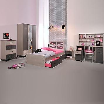 Jugendschlafzimmer Einrichtung Belliona (8-teilig) - Grau/Esche ...